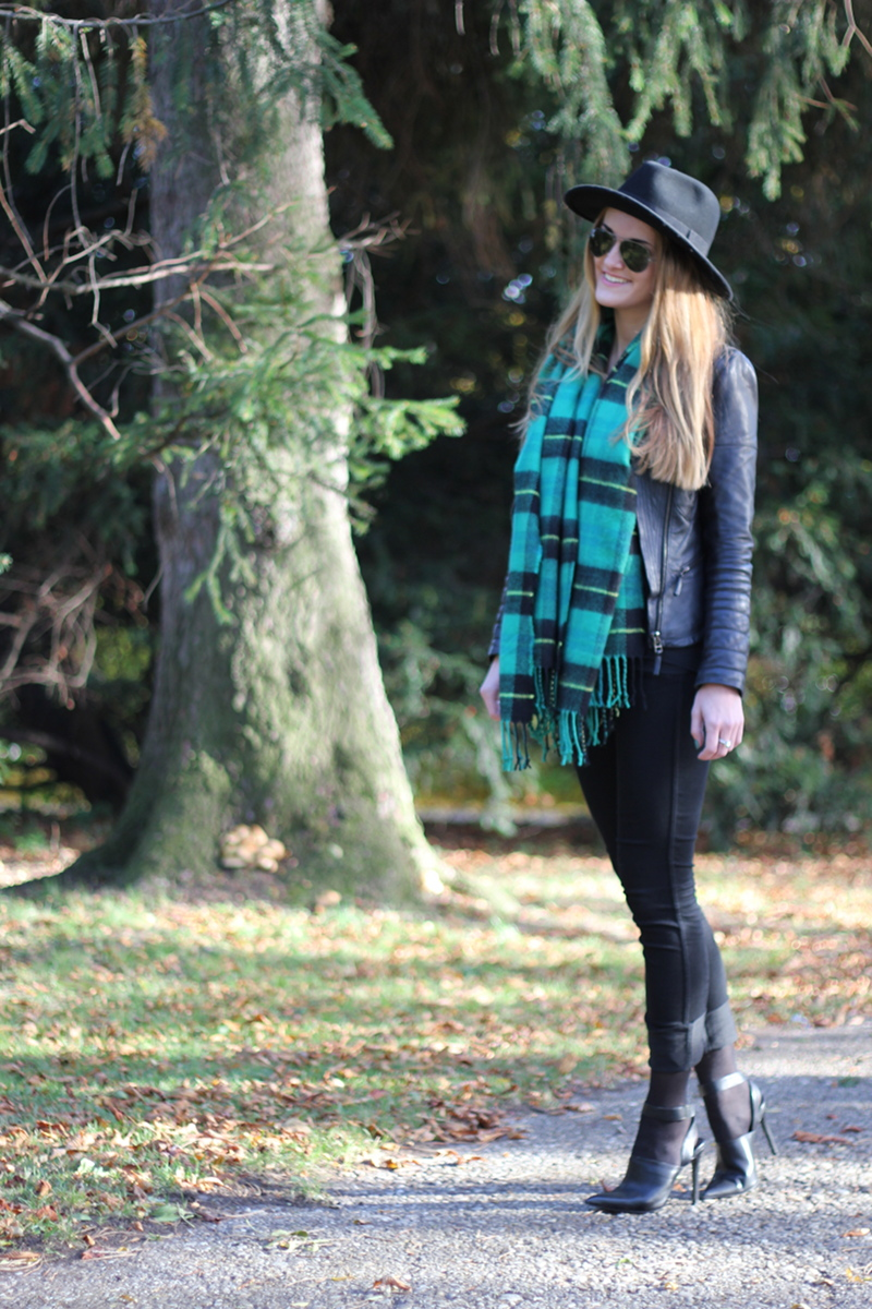 plaid green scarf
