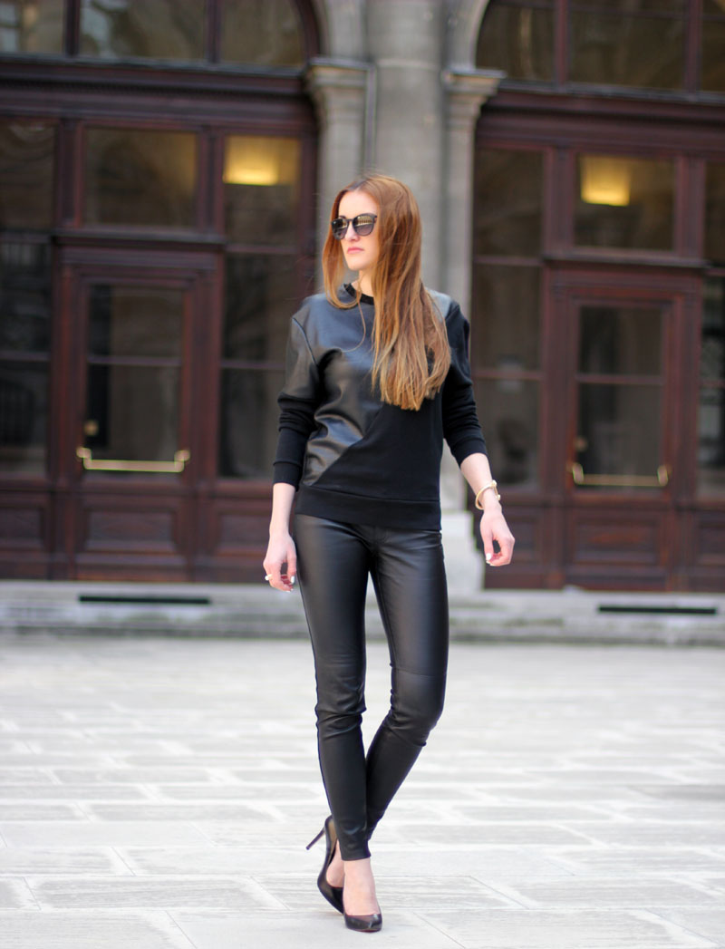 ootd: leather pants and leather top
