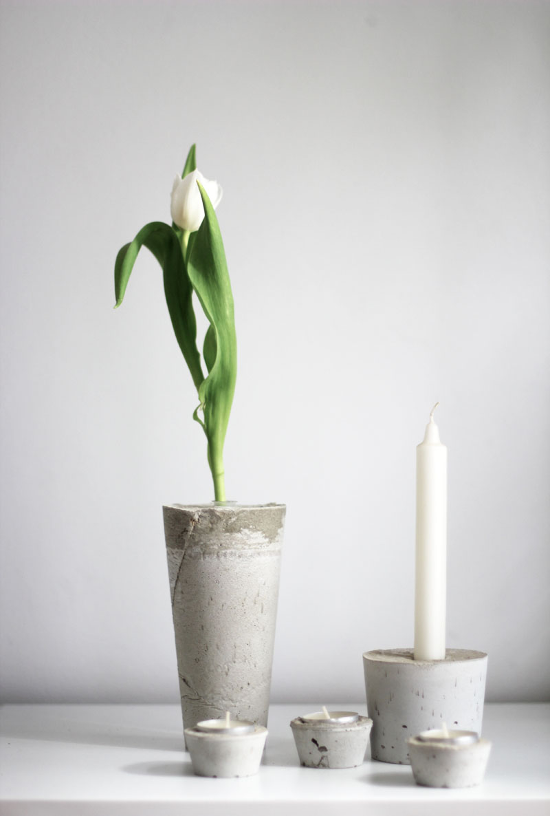 diy concrete vases and candle holders
