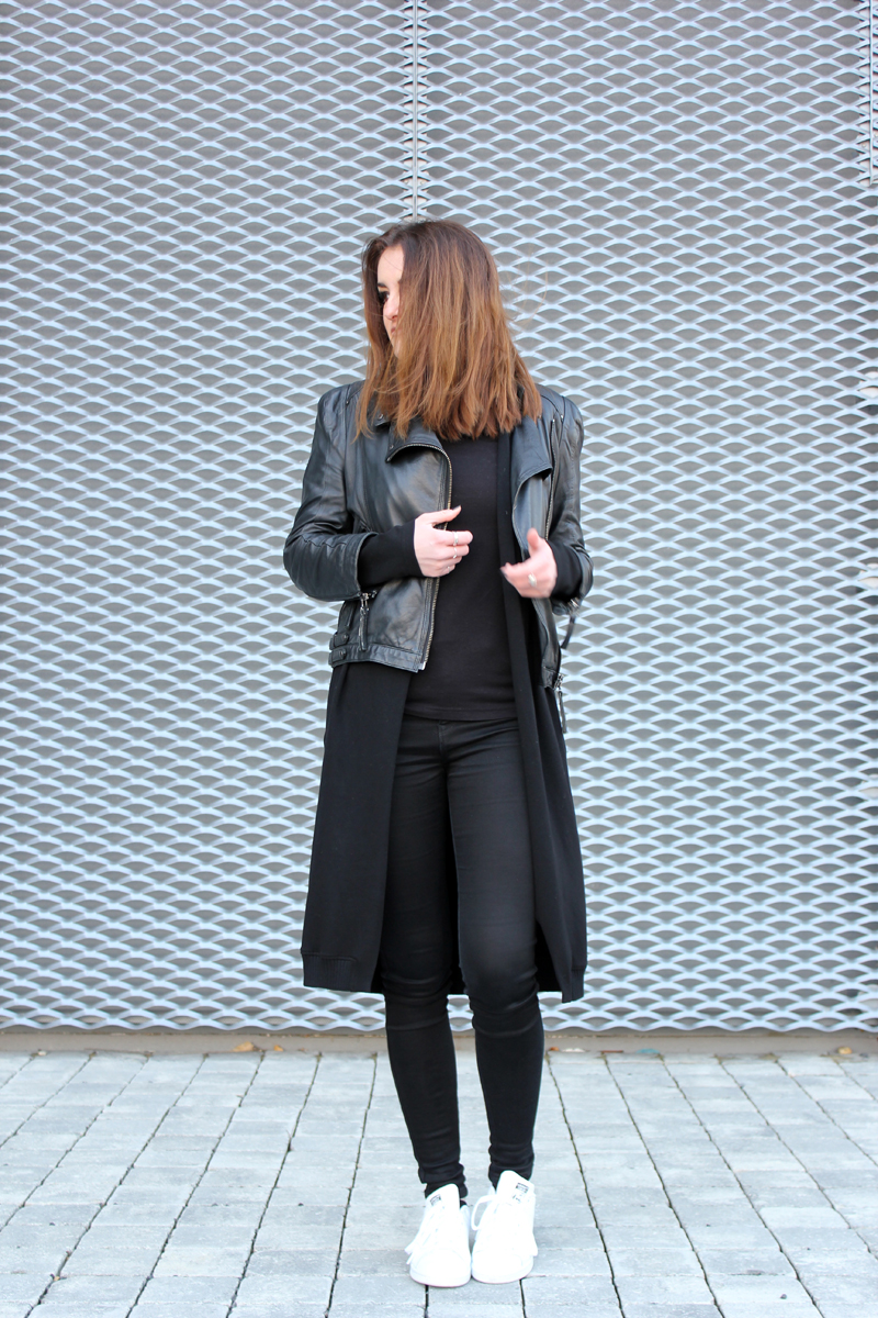 ootd: layering leather jacket and cardigan