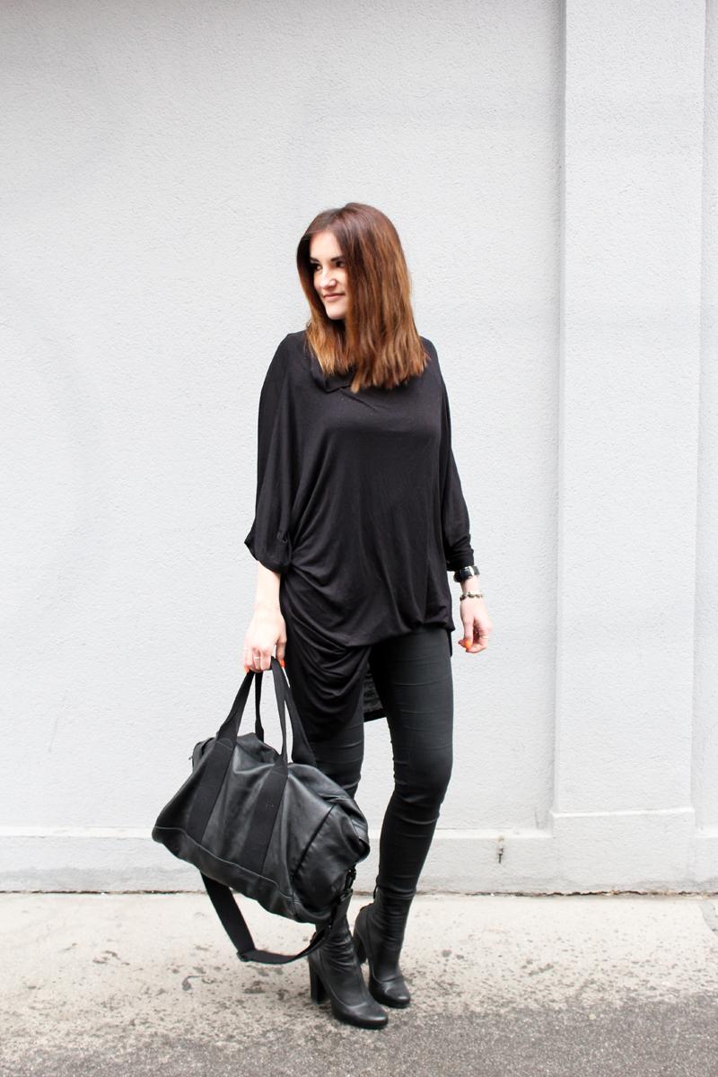 ootd: black leather sportsbag