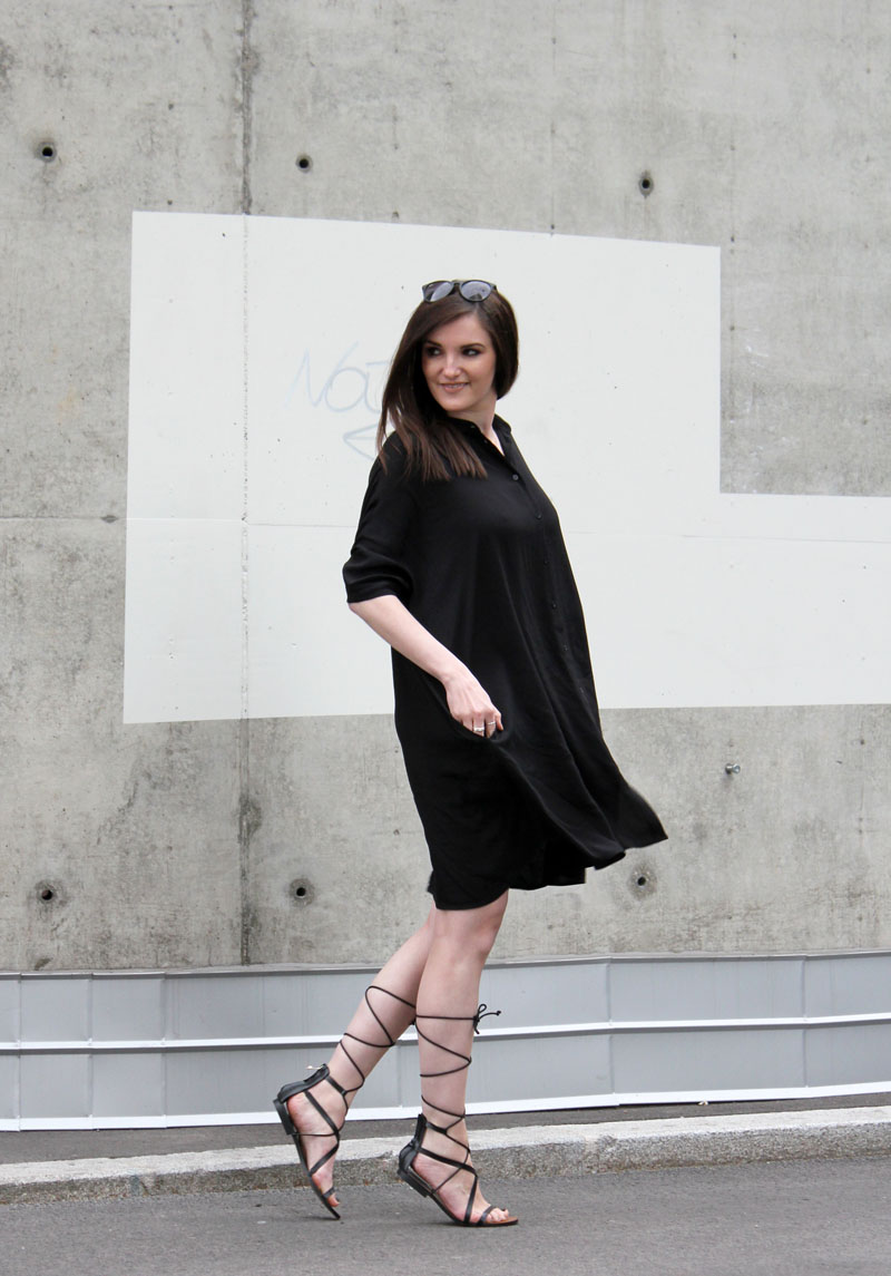 ootd: black shirt dress #1 and gladiator sandals