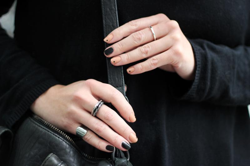 manicure minimal black and nude dots mani