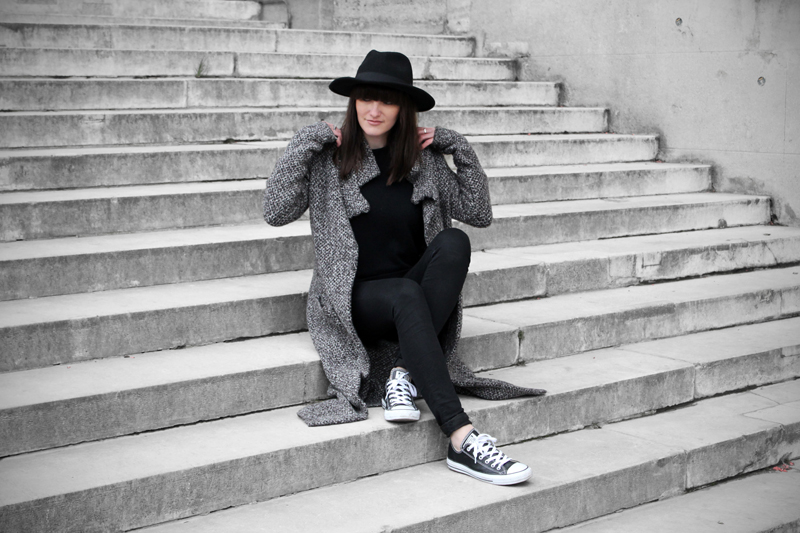 zara wool cardi and black leather converse