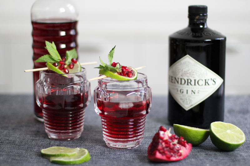 hendricks gin pomegranate drink lime mint cocktail