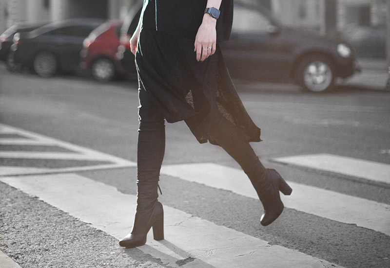 zara booties all black dress over pants