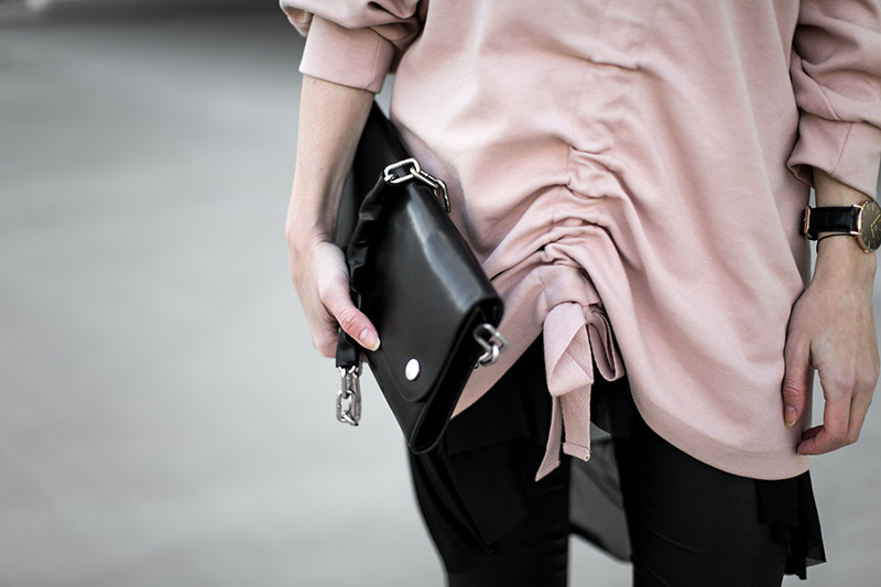 light pink and dark grey jumper and ruffles