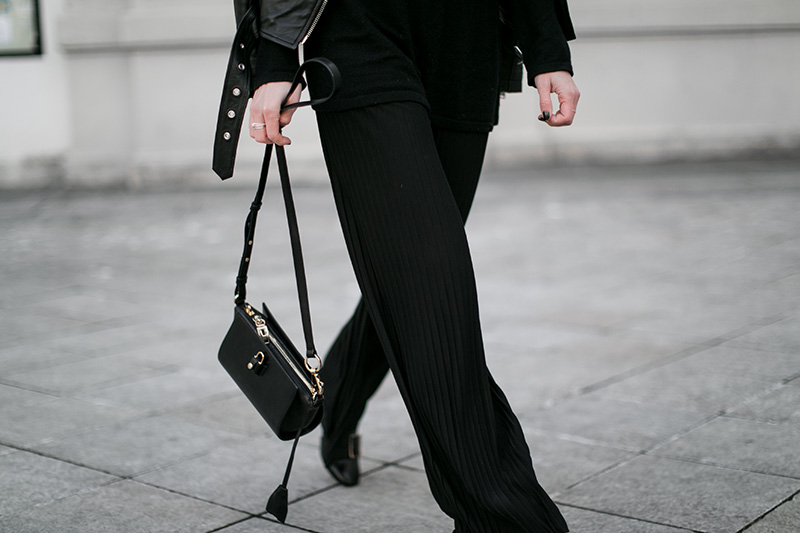 all black pleated pants worry about it later