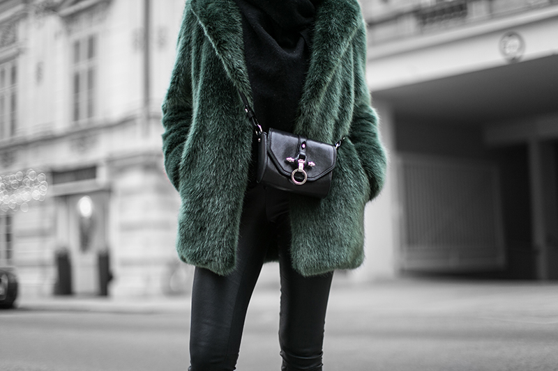 givenchy obsedia crossbody bag streetstyle vienna worry about it later green fake fur jacket defect