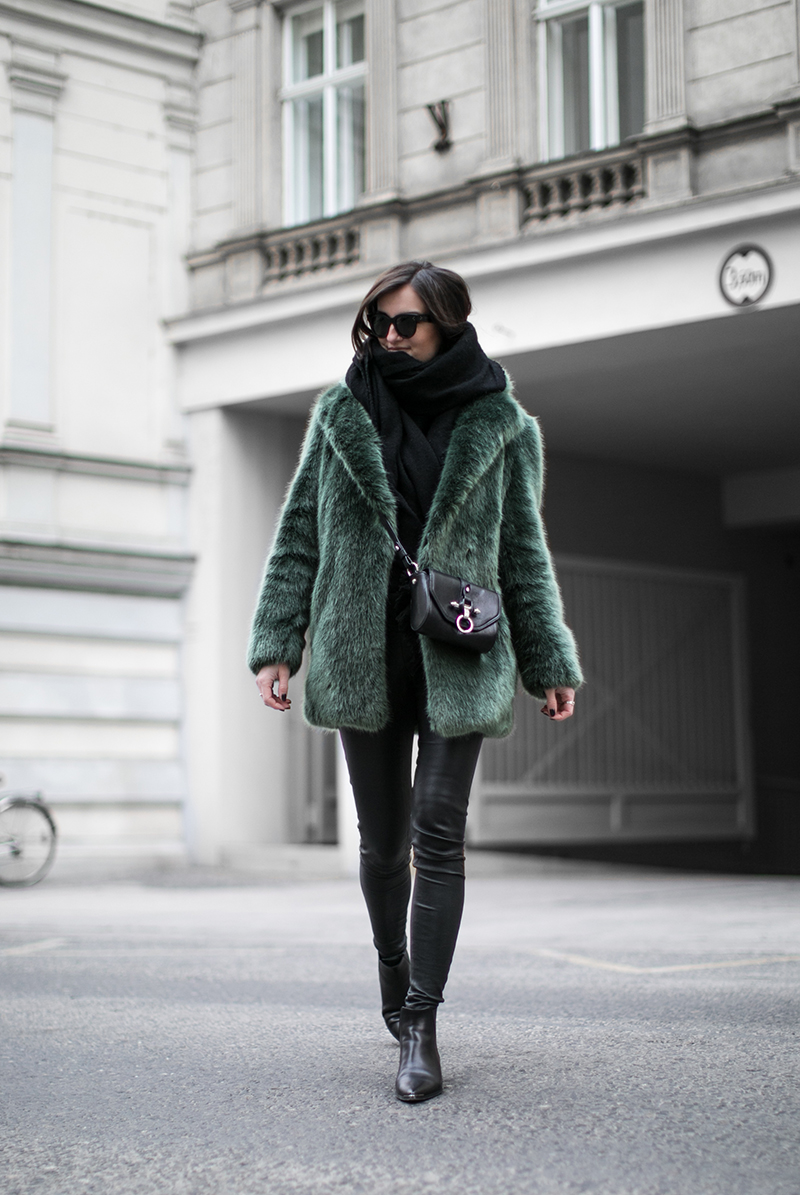 green fake fur coat givenchy obsedia crossbody bag worry about it later fashionblog vienna