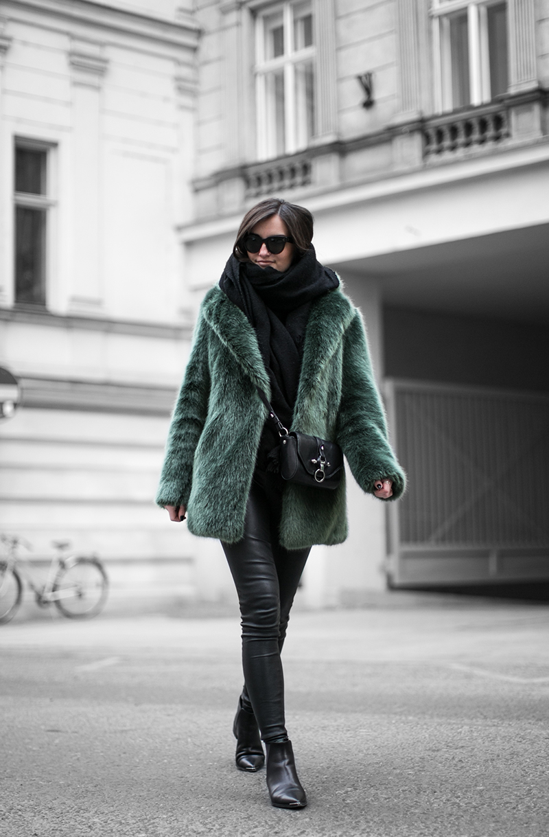 green fake fur coat worry about it later streetstyle vienna