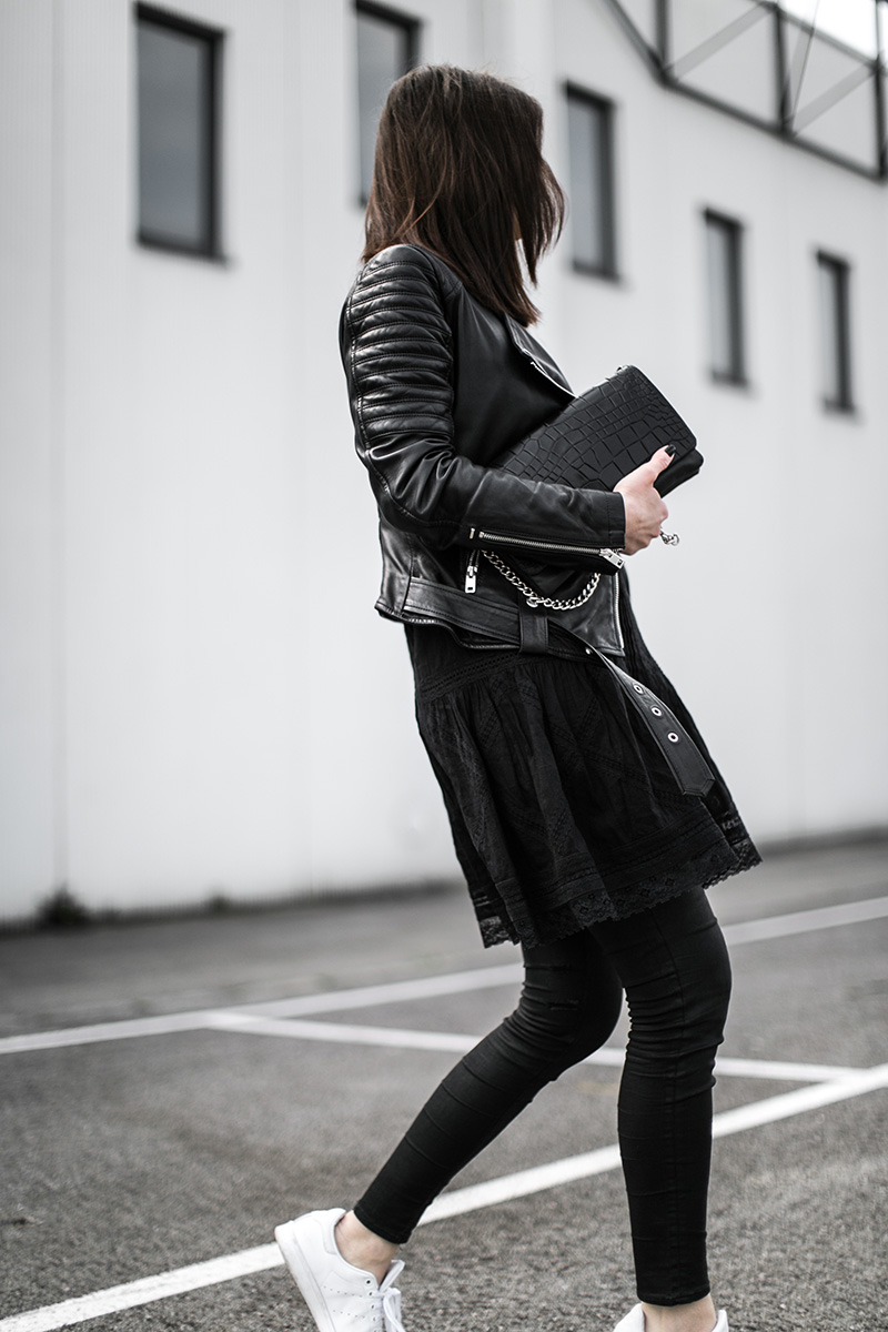 diesel dress leather jacket all black ootd worry about it later fashionblog vienna