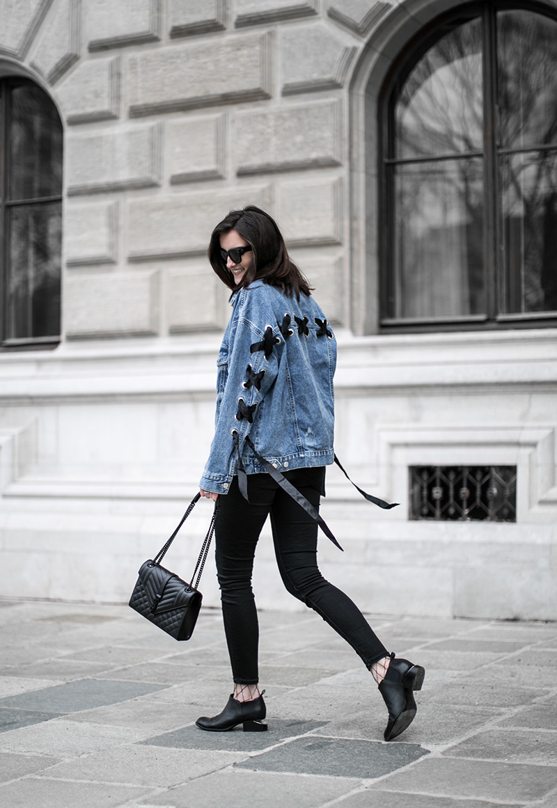 alexander wang kori ankle boots denim jacket bershka worry about it later