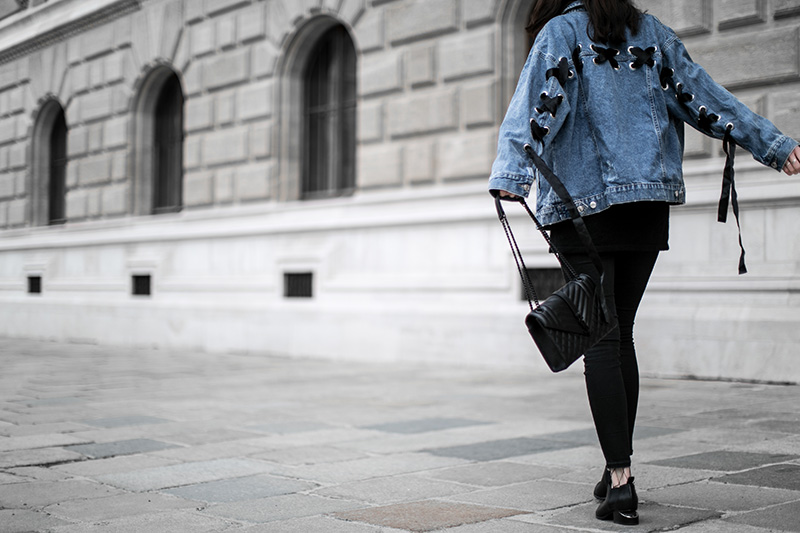 bershka denim jacket worry about it later streetstyle vienna