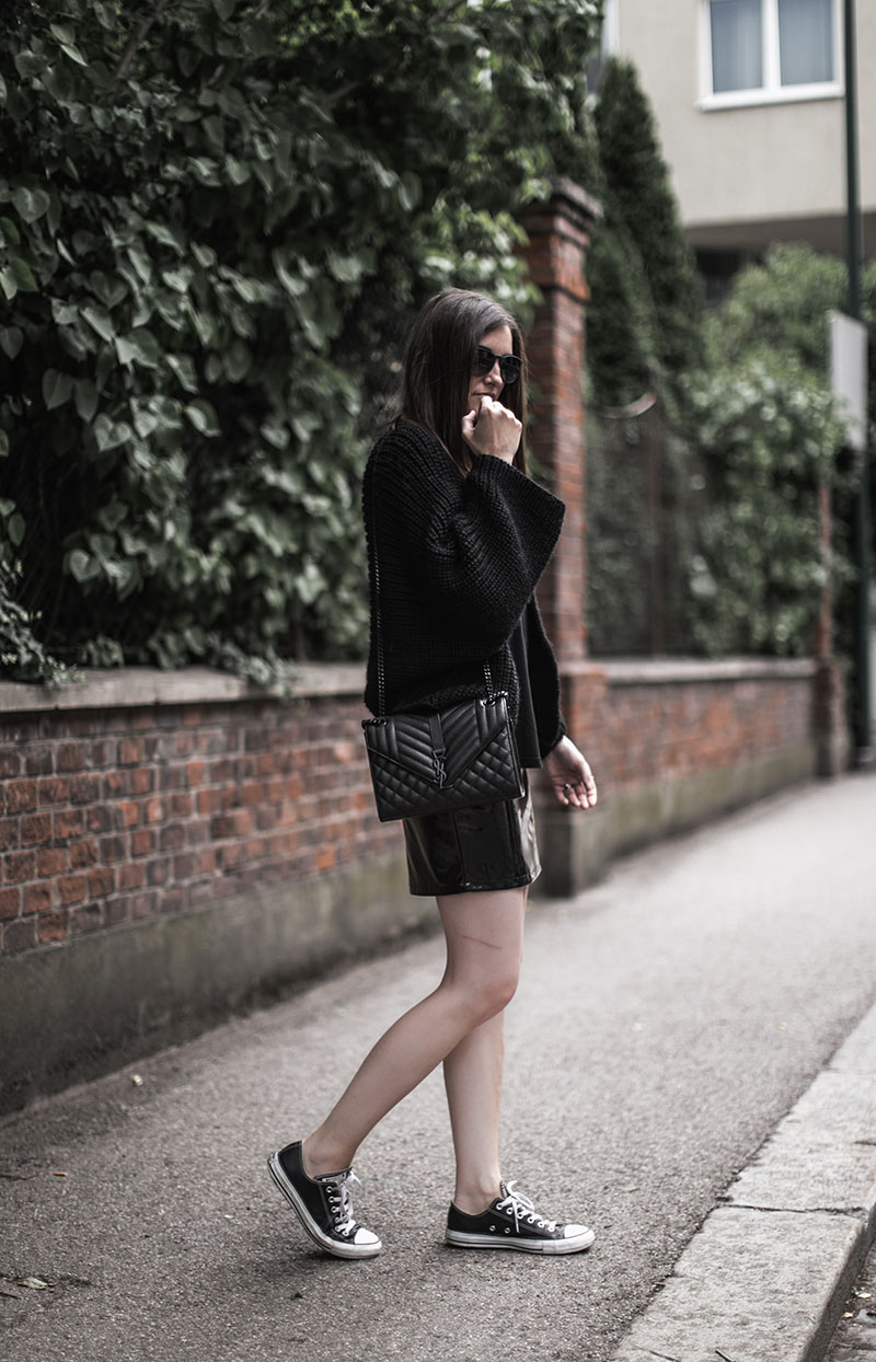 streetstyle vienna worry about it later vinyl skirt ysl bag monogramme saint laurent