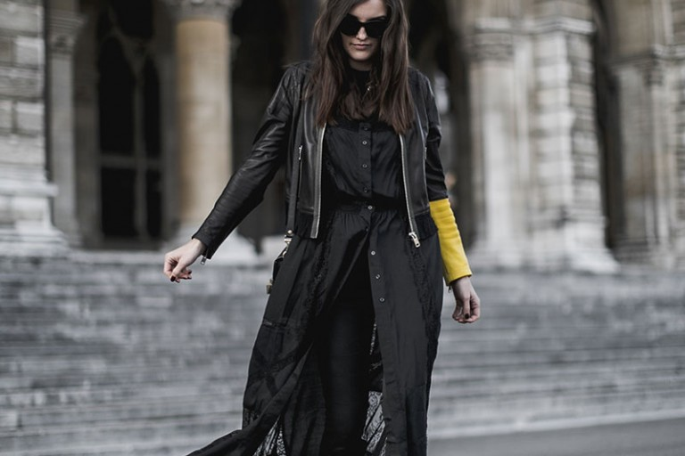 Black leather jacket – yellow sleeve
