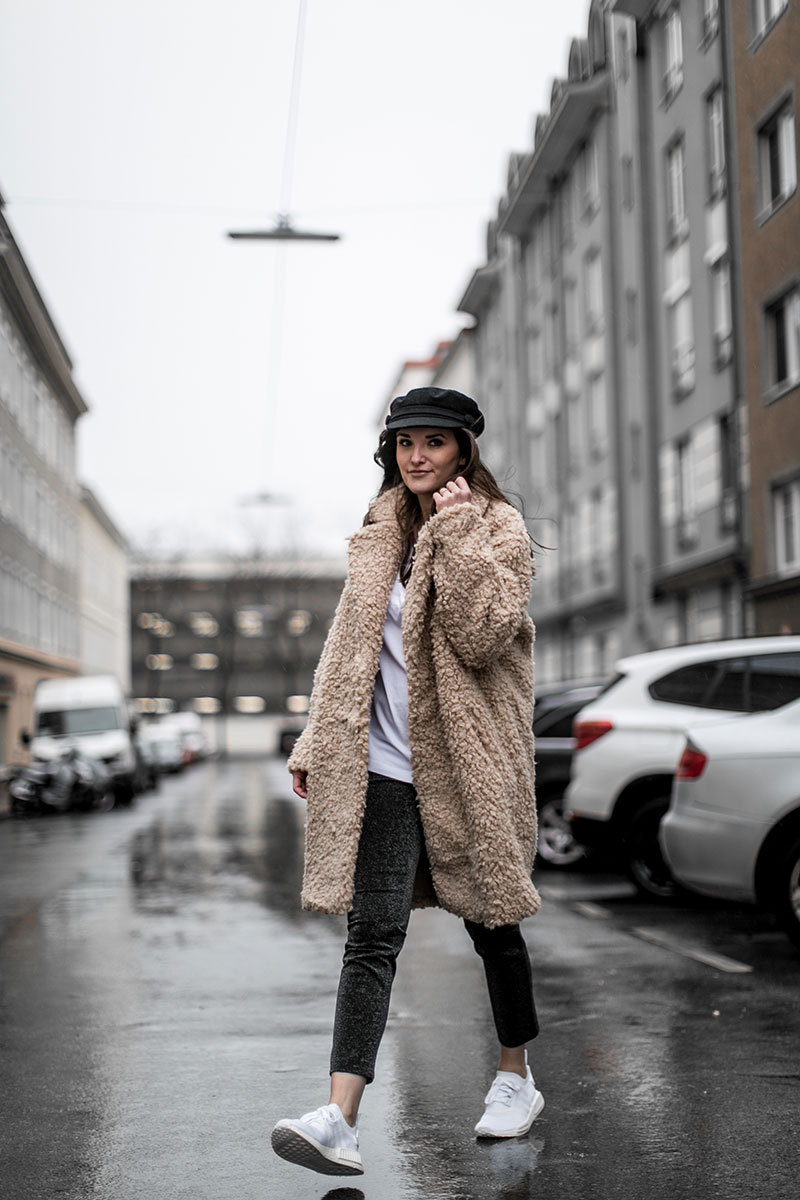 streetstyle vienna worry about it later beige teddy coat adidas nmd kicks