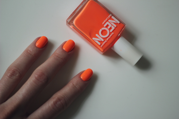 beauty: neon orange american appareal polish