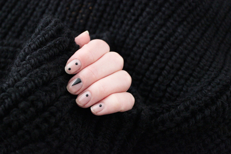 black and nude manicure