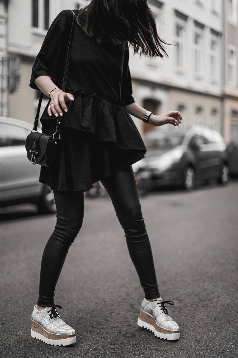 streetstyle stella mccartney elyse brogues black white worry about it later total black look