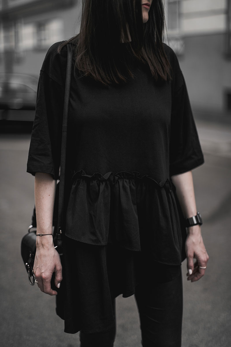 worry about it later asos white ruffle top all black outfit