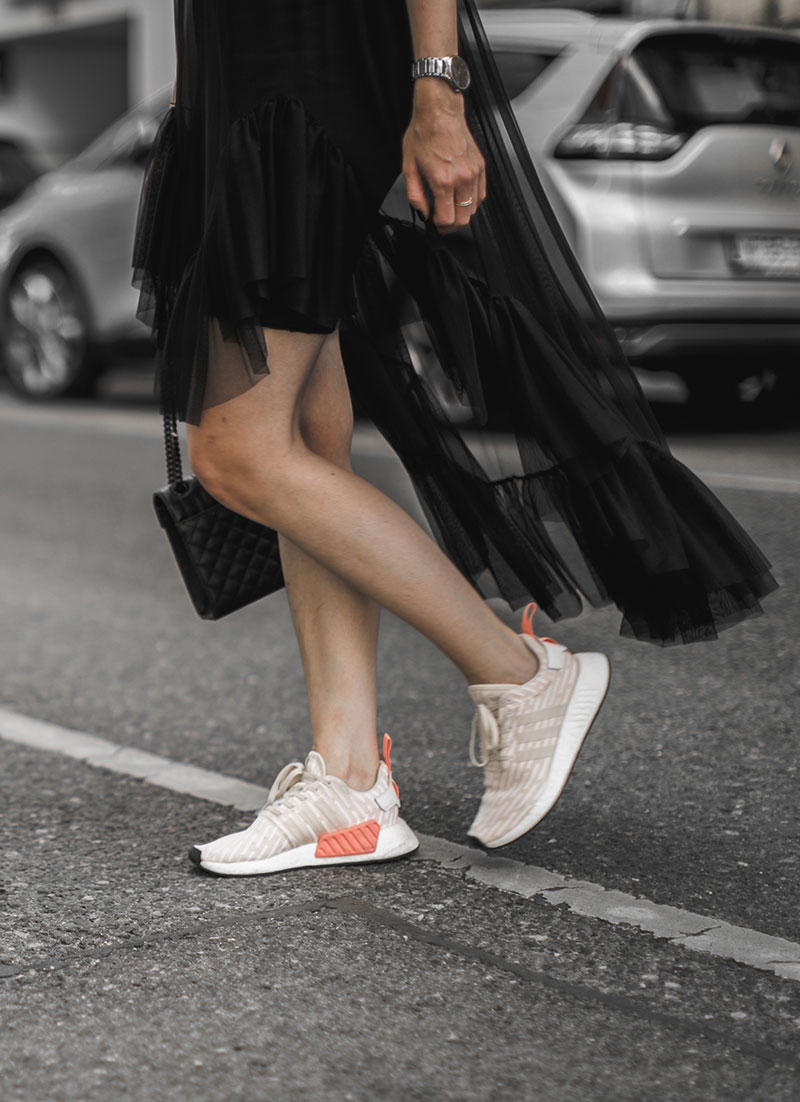 adidas sneakers nmd streetstyle vienna worry about it later sheer dress