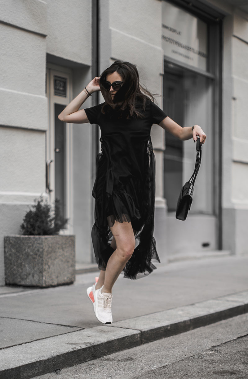 lace sheerdress worry about it later streetstyle vienna sneakers adidas nmd