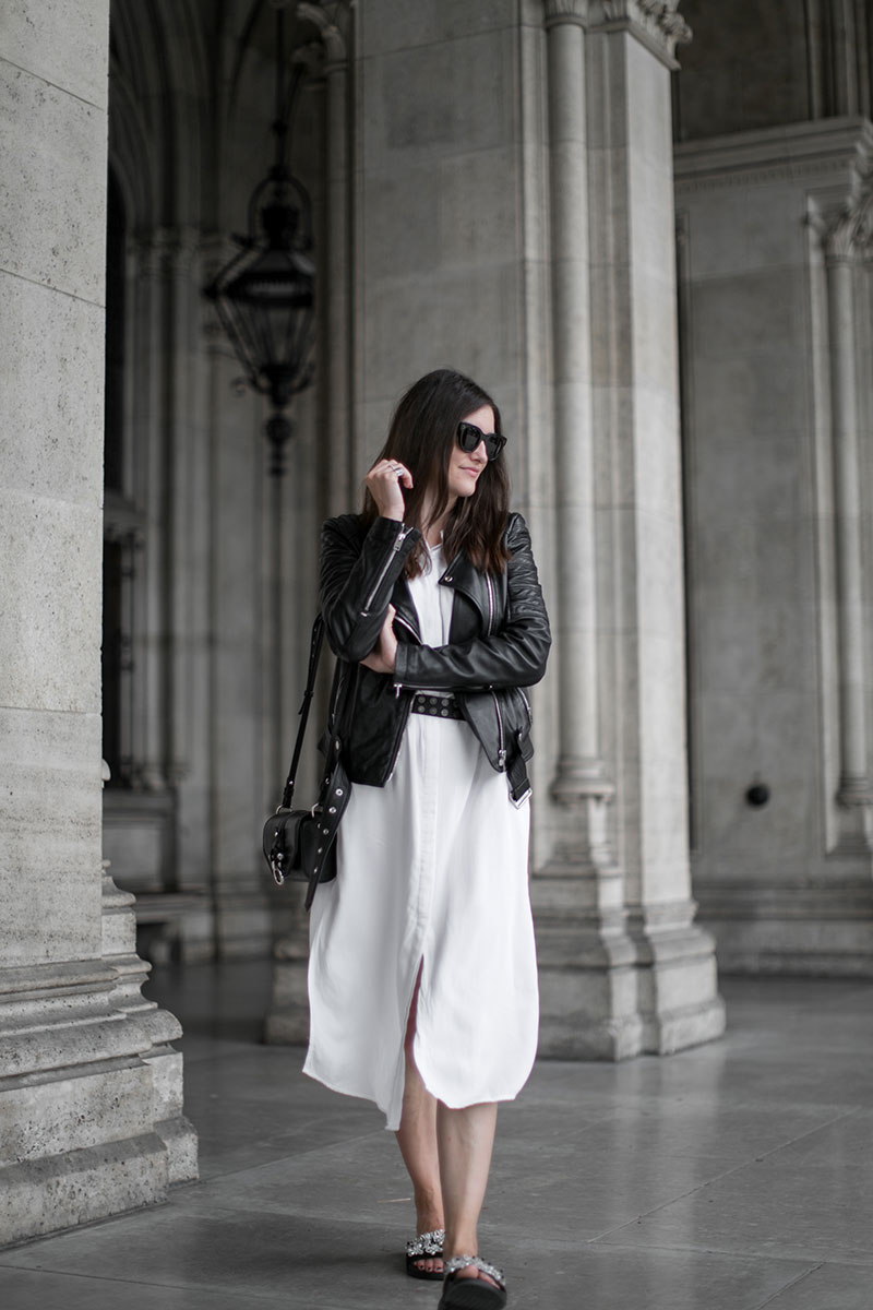 minimalistic look black white worry about it later streetstyle vienna white blouse dress slected femme givenchy obsedia crossbody bag diesel leather jacket