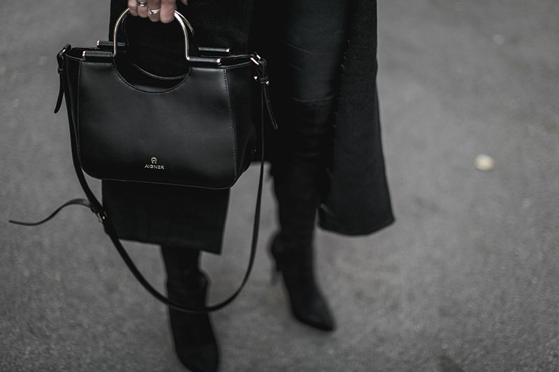 all black outfit minimal look aigner lexi bag worry about it later