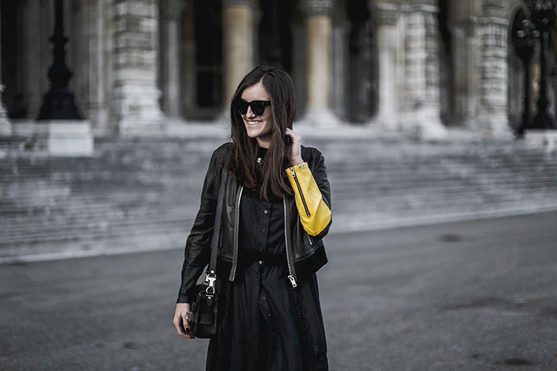 all black outfit worry about it later diesel streetstyle black leatherjacket yellow sleeve