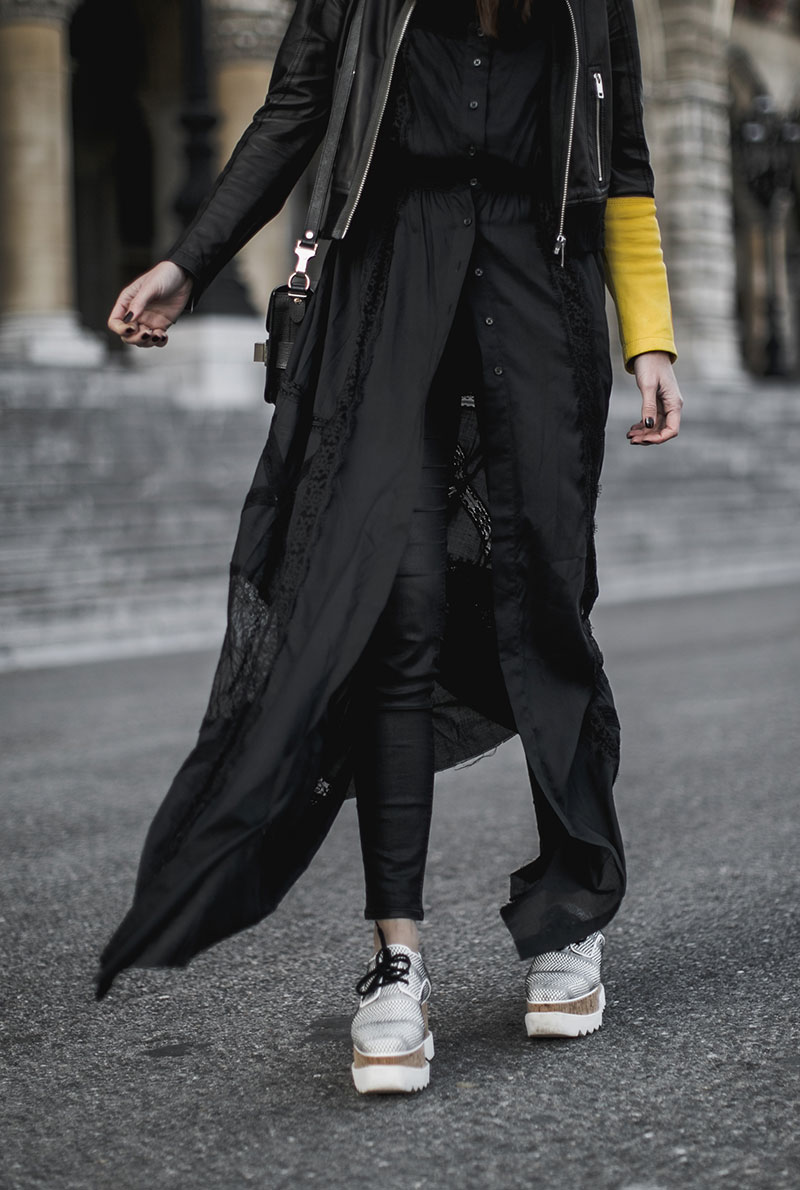 all black outfit worry about it later minimal streetstyle stella mccartney elysa platforms vegan shoes