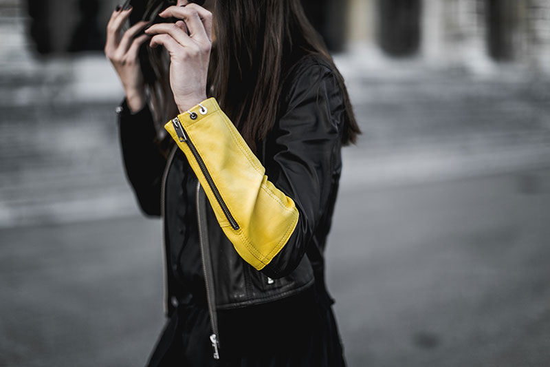 black yellow leather jacket worry about it later streetstyle vienna
