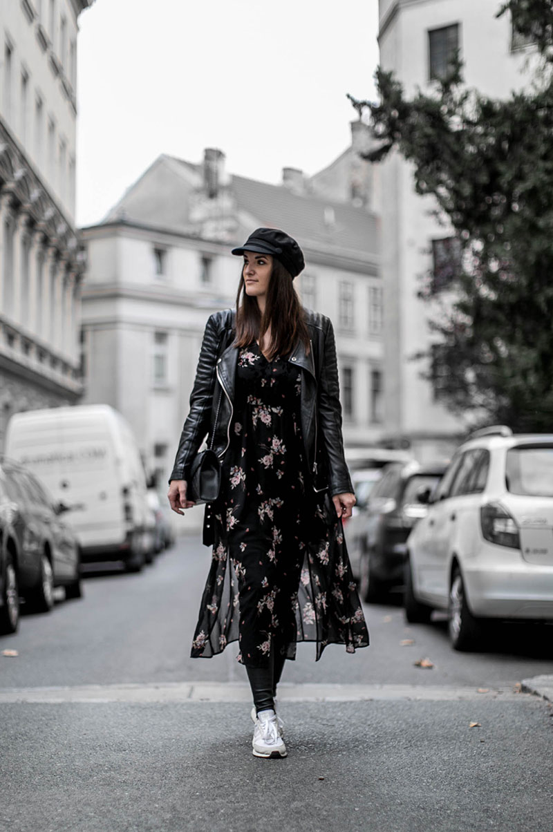worry about it later streetstyle vienna all black look flowerdress for winter