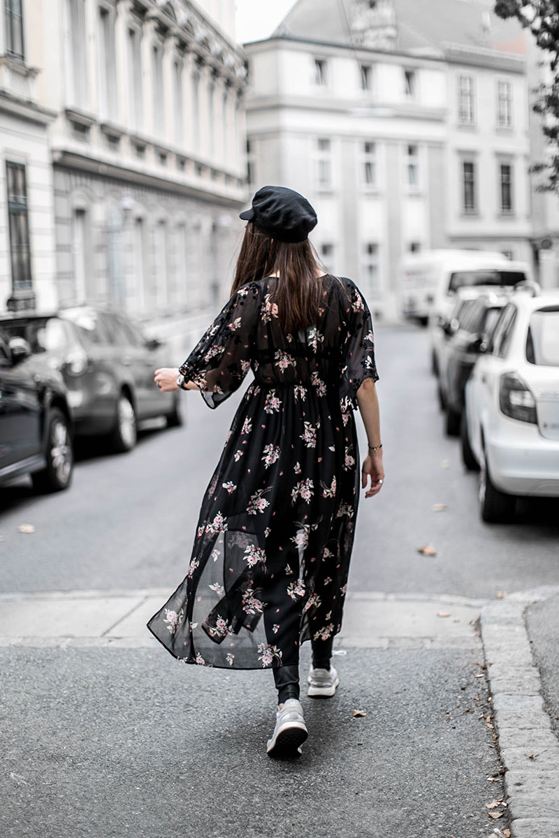 zara maxi flowerdress for winter worry about it later streetstyle vienna